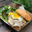 Mushroom chicken burger [$13.90] with sunny side up [+$1] // With your choice of salad/fries, this burger comprised of a 180g pan fried chicken patty, cheese, mushroom ragout, arugula sandwiched between two toasted sesame brioche buns.