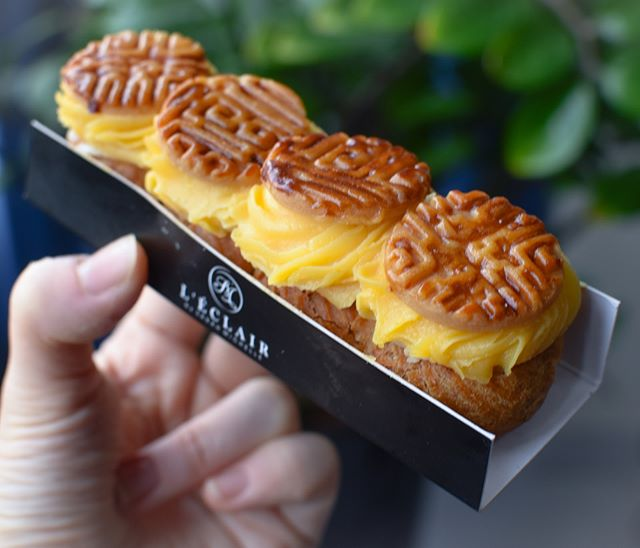 Salted egg yolk lotus eclair [$8.50] An exclusive special for the Mooncake festival (along with black sesame red bean and taro macadamia), the salted egg yolk lotus eclair is a perfect substitute if you are not a fan of mooncake.