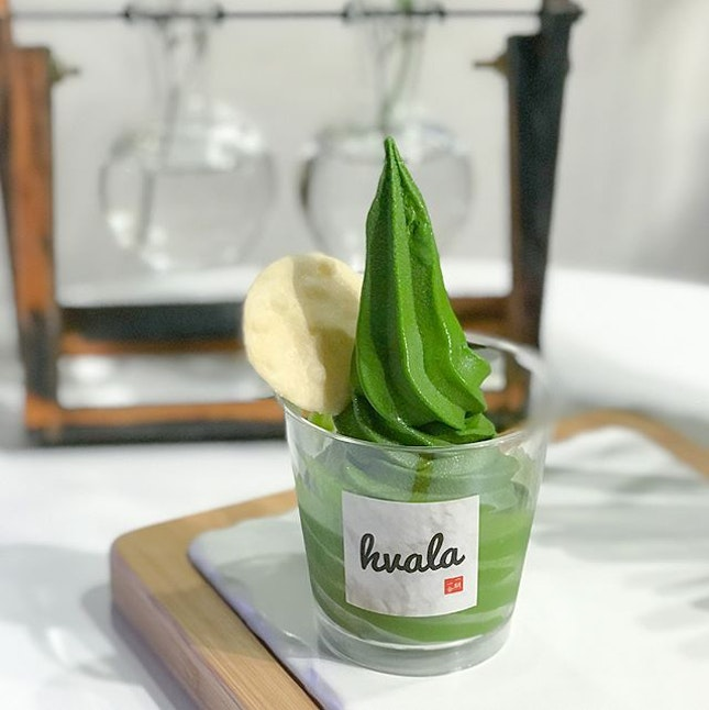 """Ceremonial matcha softserve [$6.80/half cup, $10.80/ full cup, $11.10/regular cone] """"Made from the tenderest hand-picked leaves, this pinnacle grade Matcha is used in traditional Japanese tea ceremonies"""", the recently launched ceremonial matcha softserve had replaced houjicha and is available only from Fri-Sun."""