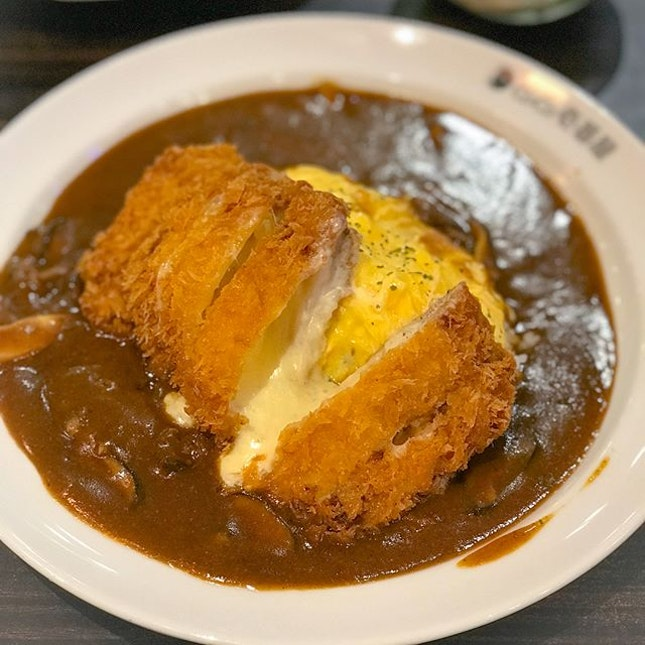 Cheesy katsu omelette curry rice[$18.90] with mushrooms [+$3] .