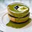 Double stack matcha soufflé pancakes [$16.80++] .