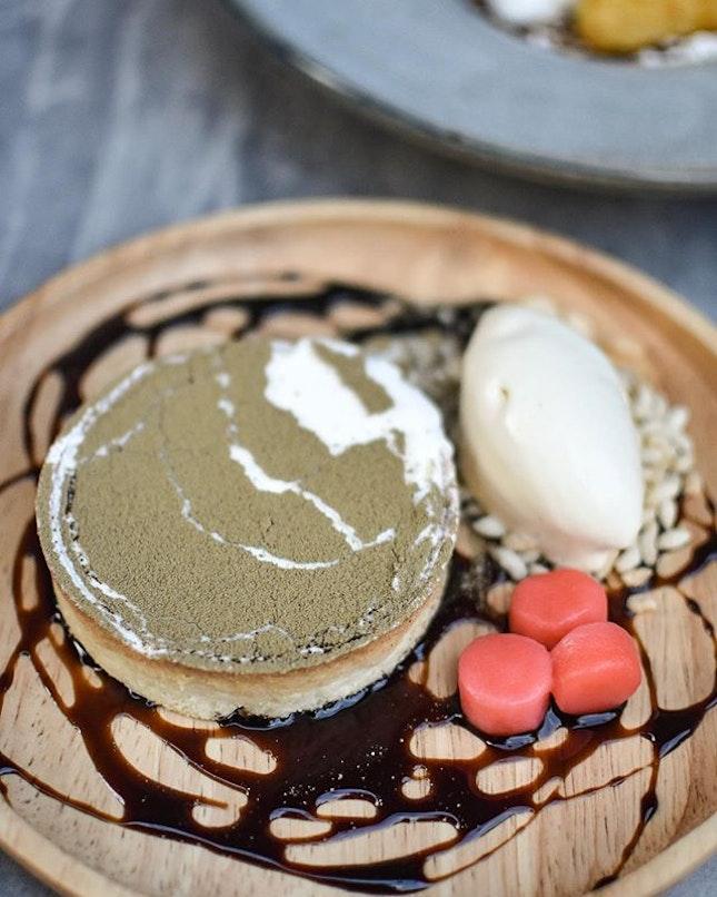Houjicha white chocolate & cream cheese tart [$13.90++] .