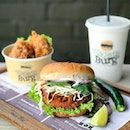 Curry Dhal Burger [$11.90] with Shrooms Pop with mint sauce + Sabja chiller [$6.90] .
