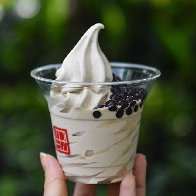 Tie guan yin softserve with pearls[$4.60] Pearl milk tea softserve [$3.90] .