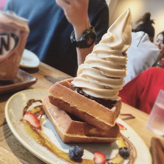 Earl Gray Ice Cream Tops On Their Waffles. Delish 😋