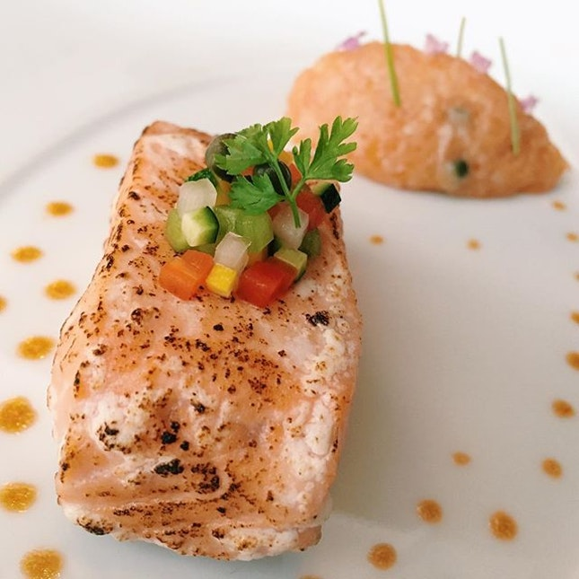 Salmon Served Two Ways from Les Amis Restaurant - wild Scottish salmon served two ways with crunchy vegetables.