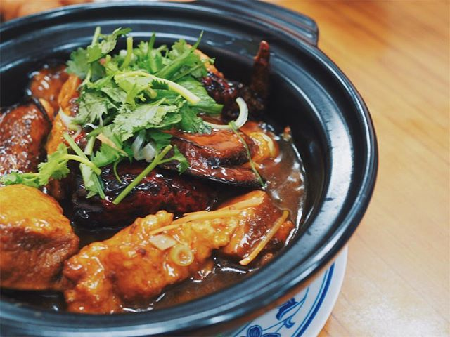 Lovingly stuffed with home-made fish paste, the claypot yong tau foo ($23) is one of the must orders when dining at Kok Sen.