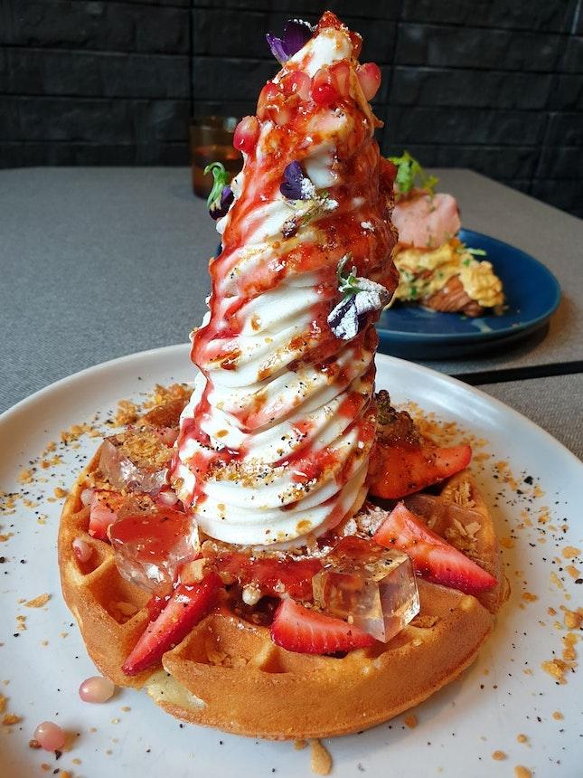 Strawberry And Elderflower Sundae On Waffles $19