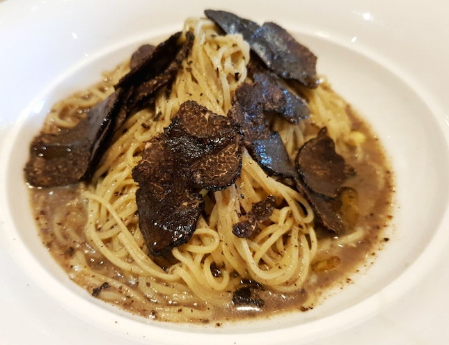 Angel Hair In Light Parmesan Cheese And Black Truffle ($28)