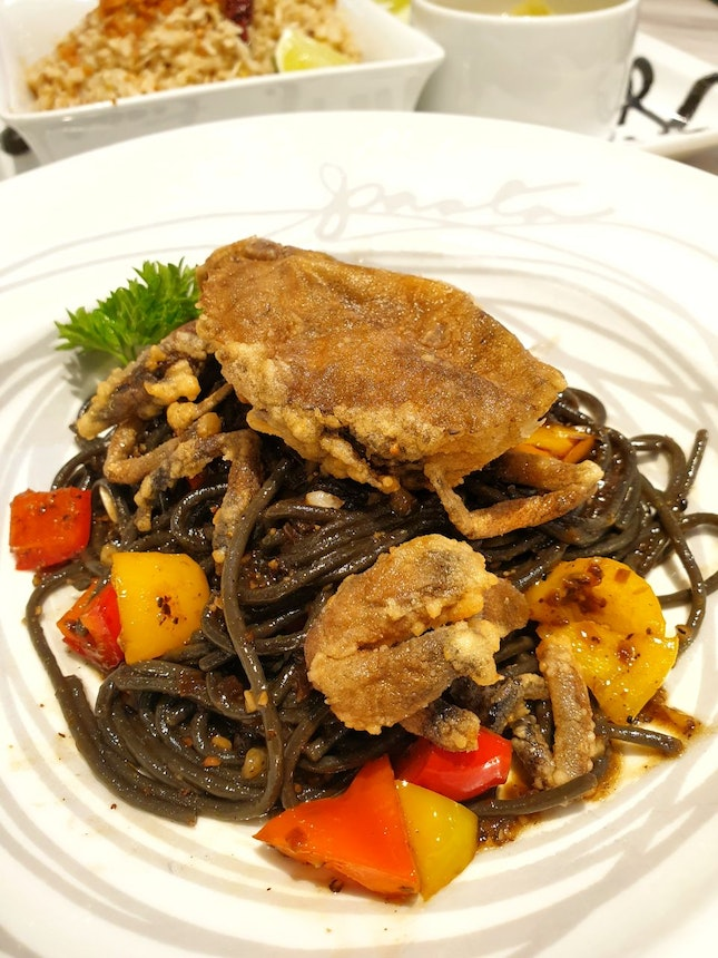 Soft Shell Crab with Ink Spaghetti ~$26