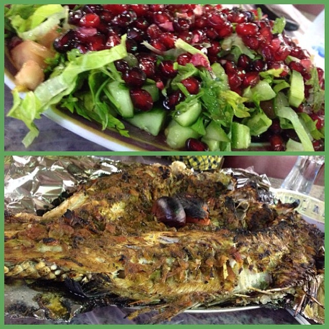 Pomegranate Salad + Nagroor Fish = Seriously to die for!