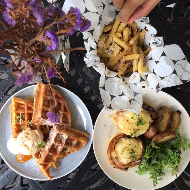 Eggs Benedict, Truffle Fries and Apricot Waffles