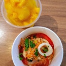 Yammama ~ basically a thai tom yam instant noodle with squid and prawn.