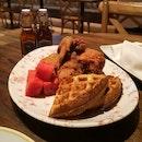 The Bird's signatureChicken 'N' Watermelon 'N' Waffle