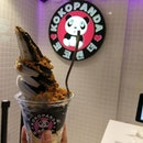 Charcoal Yogurt + Vanilla Soft Serve with 3 different flavors of pops-in-your-mouth Kokobombs.