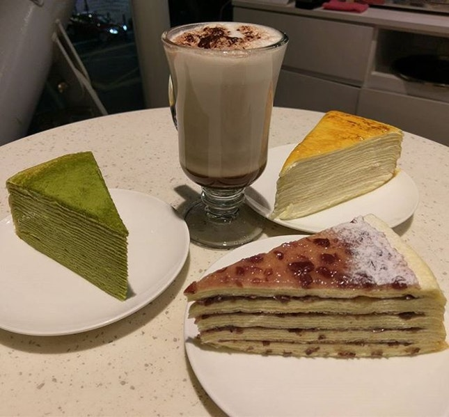Bonding over desserts 😍  Mille Crepe Cake, Green Tea Mille Crepe Cake, Red Bean Mille #CrepeCake, Hot Chocolate 💗 #Burpple