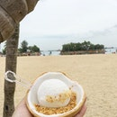 Coconut Ice cream with Roasted Peanuts [$5.50] • Having coconut ice cream at the beach was so shiok...