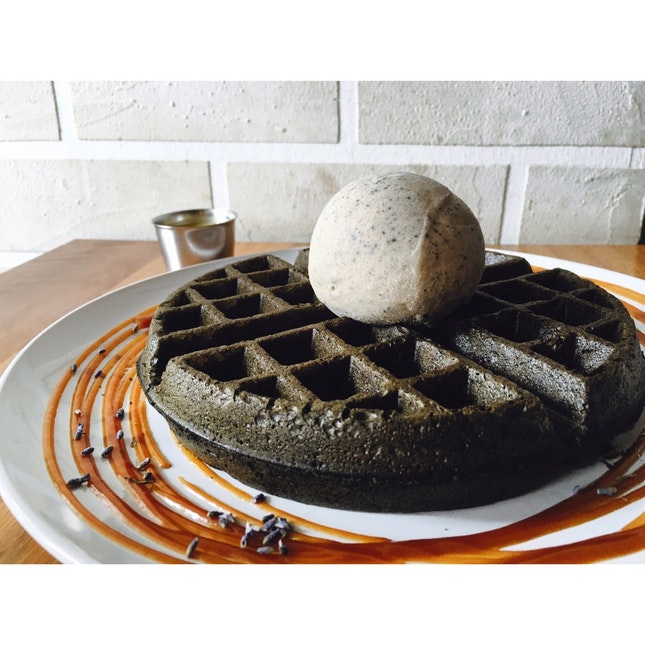 Charcoal Waffle With Butterbeer Ice Cream