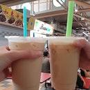 Left: Earl Grey Milk Tea ($1.70), Right: Oolong Milk Tea ($1.70)