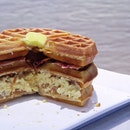 Waffle Stacker[$19.90]- choice of coffee maple syrup , gula melaka cream or normal maple syrup .