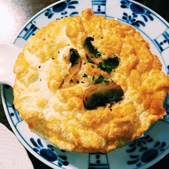 Fuwa Fuwa Hoshino Soufflé With Porcini Risotto