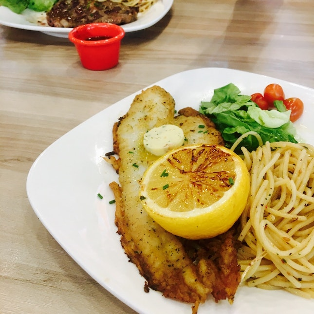 Pan-grilled Dory with Aglio Olio