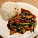 Rice with Basil Chicken ($6.00)   Hidden gem thai food right outside Braddell MRT.