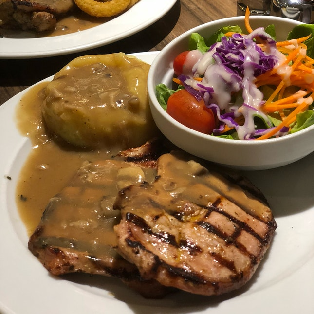 Pork Chop With Salad Green And Mashed Potato ($9.50)