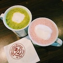 Matcha green and red velvet hot cocoa!