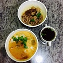 Comforting and authentic thai noodles, tom yum and dry beef noodles with soup, after a hectic day!