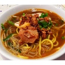 #Prawn #noodles - served with a large prawn and #porkrib !