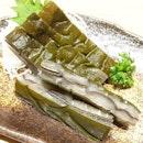 SUSHI TEI --------------- KURO KAJIKI KOBUJIME --------------- Blue Marlin sashimi sandwiched in kelp!