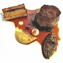 RHUBARB LE RESTAURANT --------------- BEEF --------------- Wagyu onglet with potato galette, roasted garlic pulp and pickled walnut!