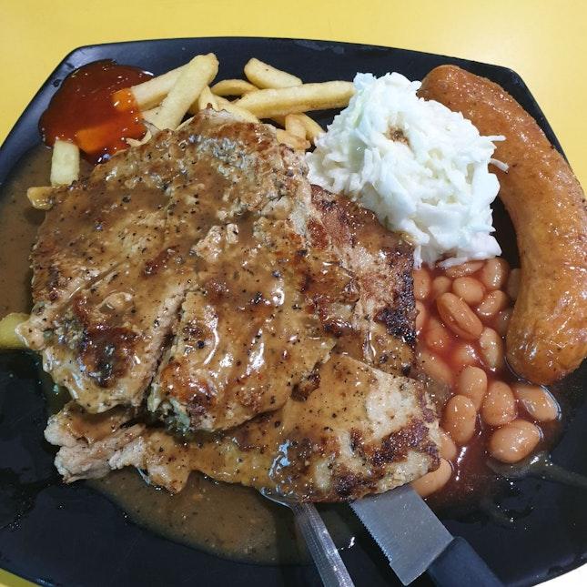 Pork Chop With Chicken Sausage
