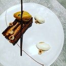 Mille feuille with salted caramel ice cream.