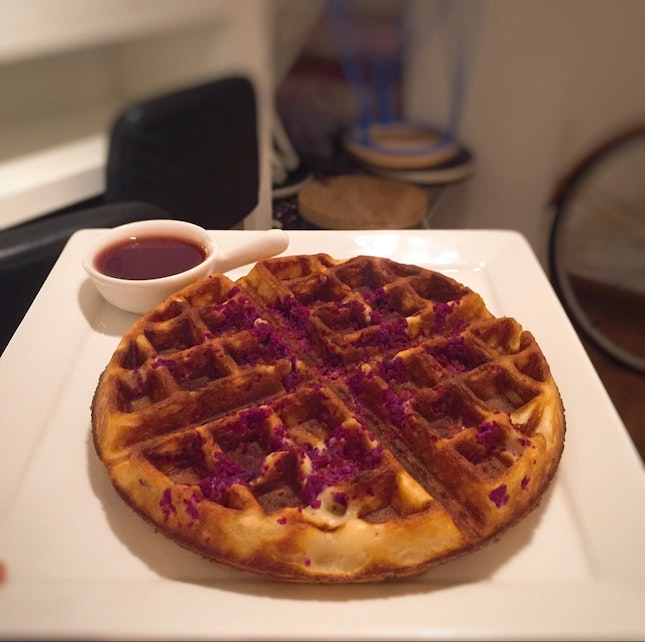 Sweet Potato Waffles With Strawberry Sauce