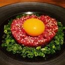 Japanese style beef tartare.
