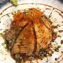aburi salmon don x aburi spicy salmon don x champion floss maki x sashimi x century egg tofu  i say just go straight for the dons and maki, and you can skip everything else.