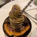 Hojicha Soft Serve with Waffles and Brownie Cubes ($8.50)