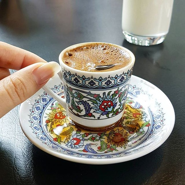 Turkish coffee at Arkadas Cafe.