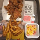 NeNe Chicken 6pcs Tenders Meal (Soy) with Corn Salad, Curly Fries and Drink ($11.40)😘Tasty meal without getting our fingers dirty (plastic gloves provided) and extremely happy to have Yoo Jae Suk with us on the table.