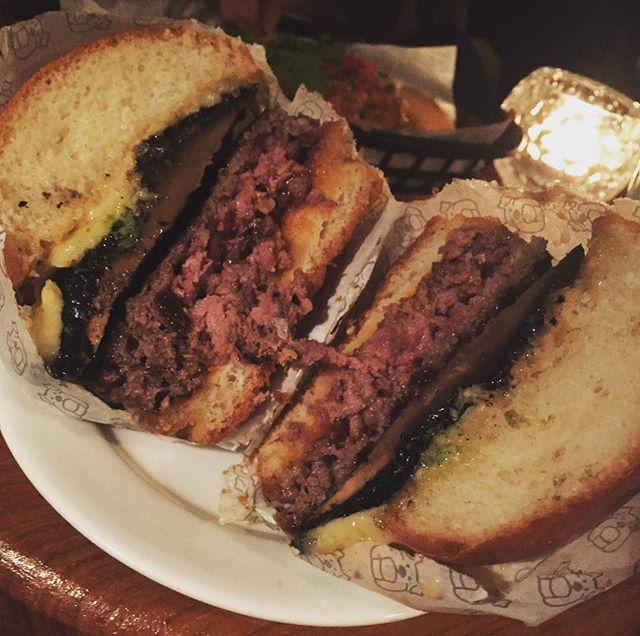 Fun Boy Three ($25) 🍔 120g Hereford Angus Applewood cheddar aged beef patty, roasted portobello mushroom, garlic & miso butter, smoked cheese, double ketchup, true aioli, in a demi brioche bun.