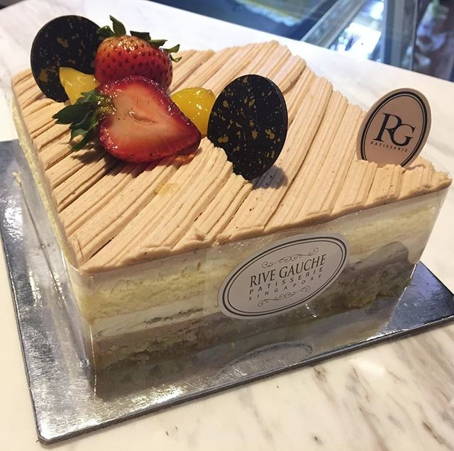 Rive Gauche Mont Blanc ($36) 🎂 Check out this lovely yummy cake from Rive Gauche 😱Vanilla sponge layered with smooth chestnut filling and whipped cream.