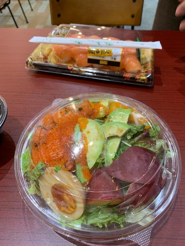 Salad, Salmon Sushi