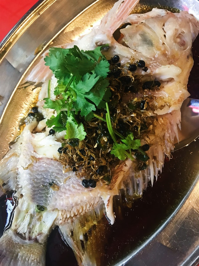 Steamed Fish Head w Black Beans, Ginger and Chilli (RM59)