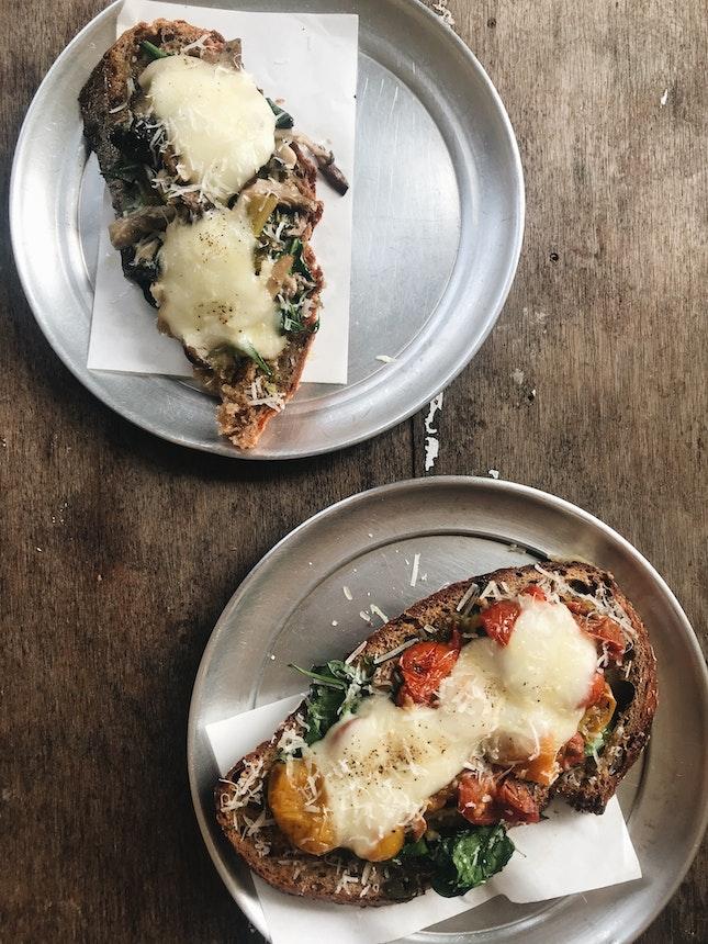 Mushroom Tartine, Tomato Tartine ($6 each)