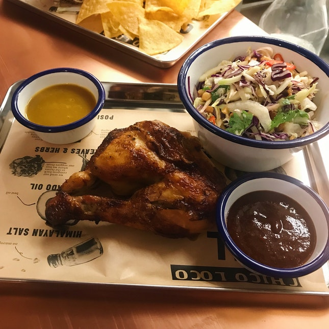 Mexican Spit-Roasted Chicken ($9) + ChicoSlaw ($6) + Smokey Chipotle BBQ Sauce ($2) + Habanero & Mango Sauce ($2)