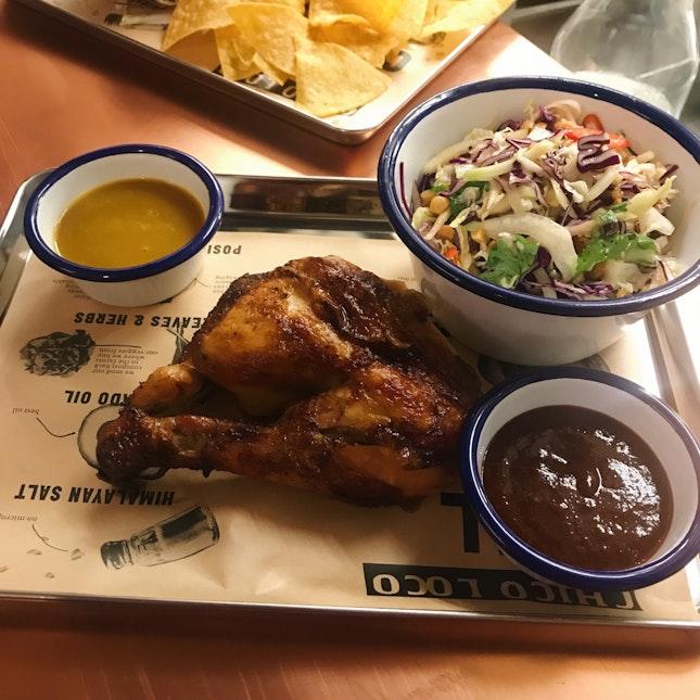 Mexican Spit-Roasted Chicken ($9) + ChicoSlaw ($6) + Smokey Chipotle BBQ Sauce ($2) + Habanero & Mango Sauce ($2)