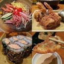 Me: I would like to have Hiyashi Chuka Soba with Sesame Sauce (cold ramen), Potato Salad, Ebiten Floss Maki (fried prawn with fish floss), Baked Salmon Maki...