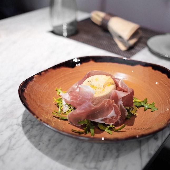 Burratina with Parma Ham [$26++]
